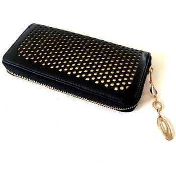 Quality Black with Golden Lining PU Hollowed Checkbook Holder wholesale