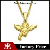 Cheap Simple design stainless steel gold pendant jewelry angel wing necklace for women for sale