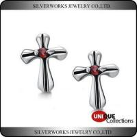 Cheap Men's Gothic Punk Thai Silver Cross Shapen CZ Silver Stud Earring With Zricon for sale