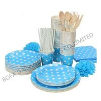 Cheap PRODUCT White dot printing tableware set paper party tableware set for sale