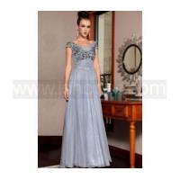 Grey bead embroidered applique mother of bride dress
