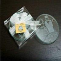 Cheap Just Married Round Glass Coaster (2pcs/set) for sale