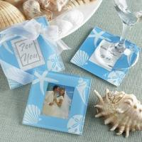 Blue Ocean Love Glass Photo Coasters (2pcs/set)