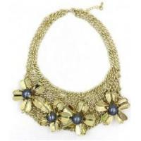 Cheap New style women female fashion newest design flower gold alloy necklace for sale