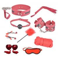 Cheap 9pc Leather Bondage Set Kit Collar, Whip, Gag ball, Rope, Handcuffs for sale