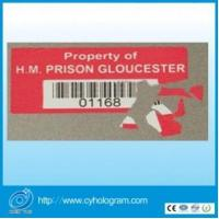 Cheap Security Fragile Sticker with Barcode for sale