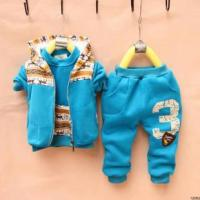 Cheap male and female children's clothing 2012 new Autumn baby sweater vest + jacket + trousers Parure for sale