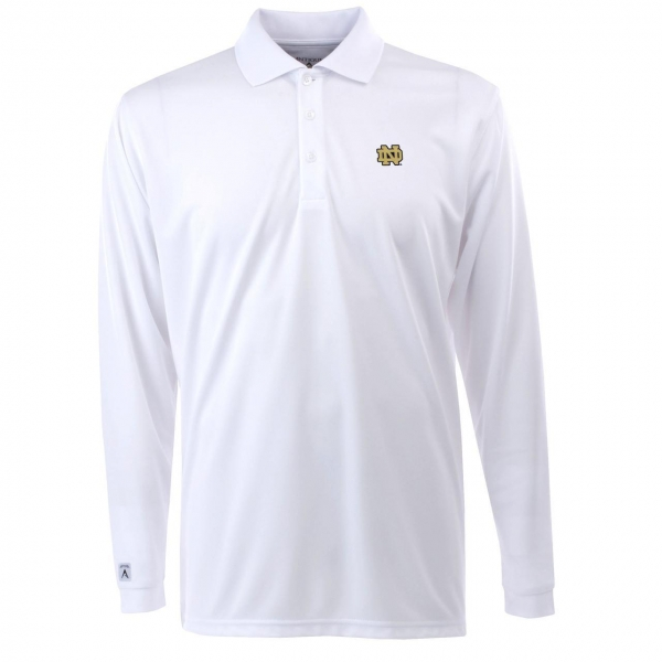 Antigua notre dame mens white nd notre dame long sleeve for Notre dame golf shirts