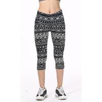 Cheap Black And White Tribal Geometrical Line Symbols Printed Slim Elastic Casual Capri Leggings for sale