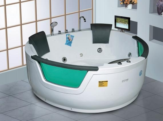 Big space freestanding round air massage whirlpool hot tub with tempered glass with certificate - Soft tube whirlpool ...