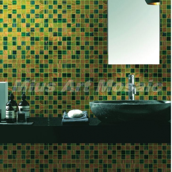 Green Yellow Recycled Glass Mosaic Tile Bathroom Tile Mr004 With Certificate Of Iridescent Glass
