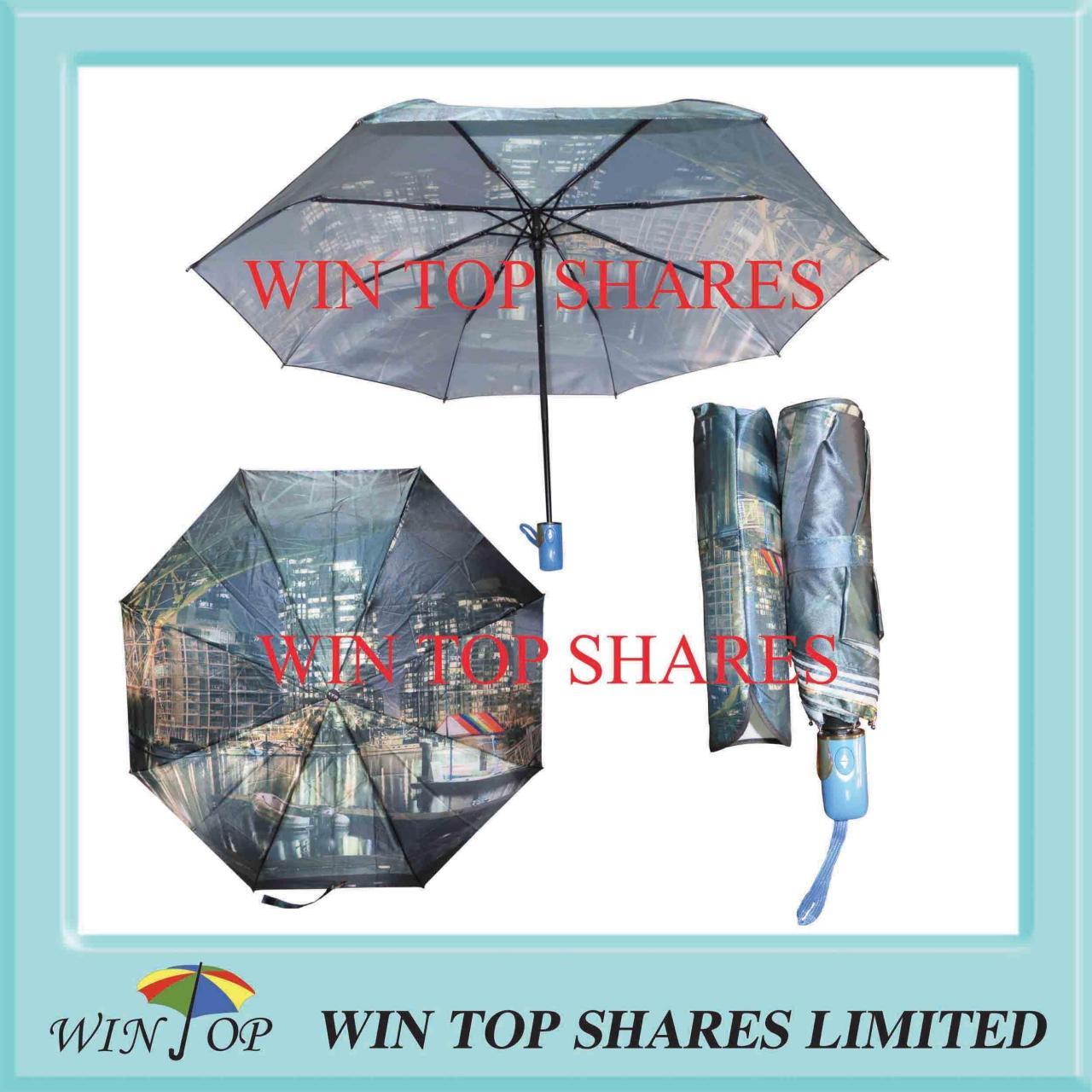 Buy cheap Modern city scenery satin full automatical umbrella from wholesalers