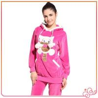 Cheap 2014 latest design cute pink velvet women brand animal design design women pyjam for sale