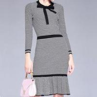 Cheap Ladies ladies casual dress black and white stripe knitted skirt designs for sale