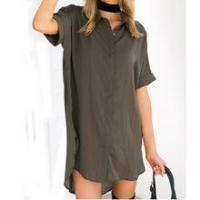 Buy cheap Ladies women clothes 100% cotton plain long style ladies shirt from wholesalers