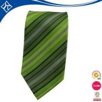 Cheap high quality custom color green stripe tie for sale