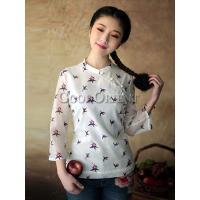 Cheap Classical leaf Design Chinese Blouse for sale
