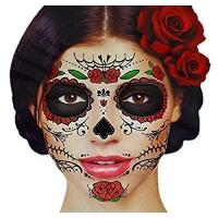 Cheap Glitter Red Roses Day of the Dead Sugar Skull Temporary Face Tattoo Kit - Pack of 2 Kits for sale