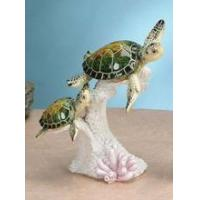 China Mom & Baby Green Sea Turtles Swimming 7.5 H ANIMAL ITEMS on sale