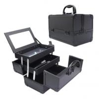 Cosmetic Makeup Train Case with Mirror Cover Board and Easy Clean Extendable Trays Manufactures