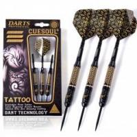 Cheap CUESOUL TATTOO Series 23g Black Coated Brass Steel Tip Darts,with Unique Pattern Engraved for sale
