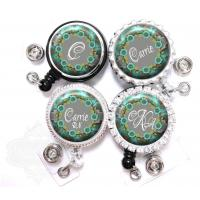 China Badge Reel - Personalized Teal and Gray Flowers Retractable Nurse Lanyard ID Holder on sale