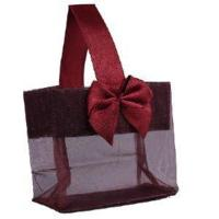 """Cheap Burgundy Sheer Tote with Satin Handle & Bow (3.25"""" x 3.25"""" x 2""""), 12 bags SHTOTE-BU-D for sale"""