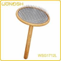 Curved handle round head slicker brush with dots L