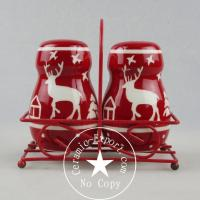 Christmas Ceramic Christmas Reindeer Ceramic Slat N Pepper With Metal Stand Wholesale