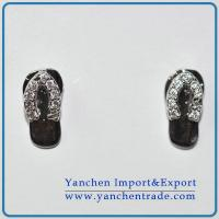 Slipper shaped earring studs rhodium plated with AAA CZ