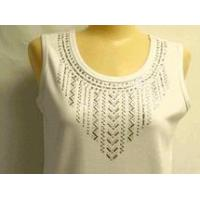 Cheap Christine Alexander white tank shirt baguette & silver stud size S, M, & 3x for sale