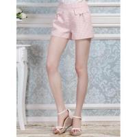 Peach red tiny geometric pattern all short pant with scallop hem flap pockets front J4168K