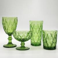 China Colored Embossed Wine Glass, Champagne Flute, Glass Cup on sale